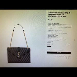 Yves Saint Laurent Envelope Large Bag $2,200 OBO